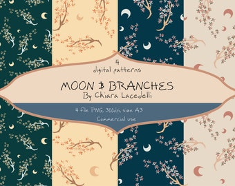 Digital paper Moon and Branches