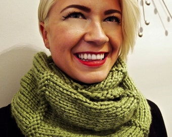 Vibrant Green Infinity Scarf with Stitching Accents, Long length, Wrap twice, Lightweight