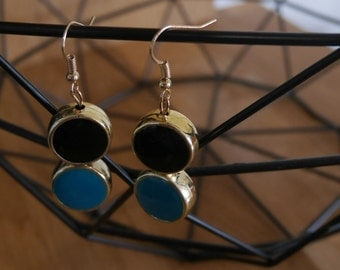 Earrings blue and black - gold Golden blue and black earrings