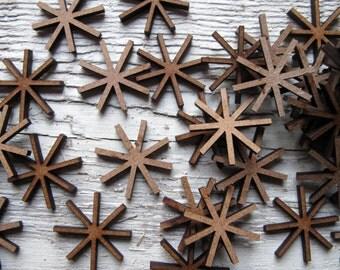 Snowflake x 50 Mini Wood Embellishment Craft Project Scrap Booking Card Making Shape Blank