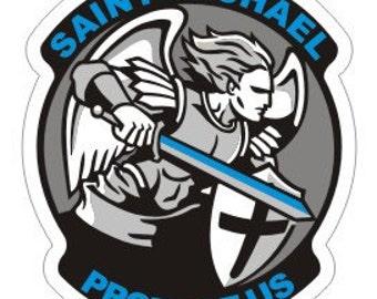 Arch Angel Saint Michael Thin Blue Line Police Sticker / Decal #199
