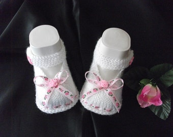 knitted baby shoes, baby shoes, baby socks, Babybooties * rose * NEW