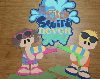 Summer squirt gun title and children die cut set for scrapbooking and card making
