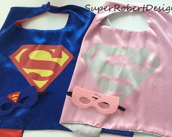 SUPERMAN CAPE/SUPERGIRL Cape and Mask, Superman Costume, Superman Party, Superman Birthday, Superman Birthday Party, Superman Party Favors