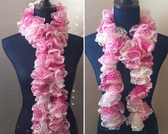 Handmade Crochet Ruffle Scarf -Cotton Candy