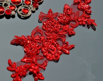 Bridal Lace Applique Sequins Beaded Trim Appliques Red for Weddings, Sashes, Veils, Headpieces, 1 PCs WL008