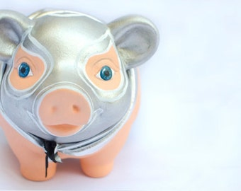 Mexican Wrestlers Piggy Bank, Mexican Folk Piggy Bank, Piggy bank, Collectable, personalized, Hand Made, original, perfect gift, ceramic