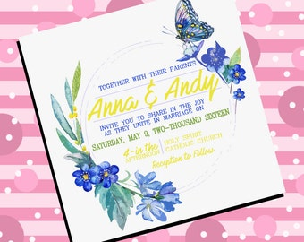 Blue butterfly and flower wedding invitation