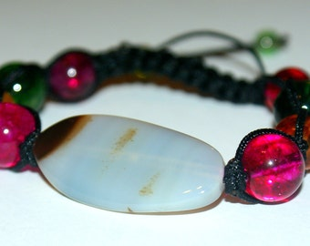 White Agate with gems bracelet, Gift for her, fast shipping,healing stones
