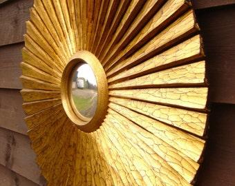 carved gilded wooden sunburst mirror convex/ starburst mirror convex mirror handmade by seller
