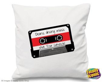 Supernatural Pillow Cushion Cover - Dean's Mix Music Driving Cassette - Impala, Sam Winchester, Demons,Castiel, Angels, Crowley, Bobby
