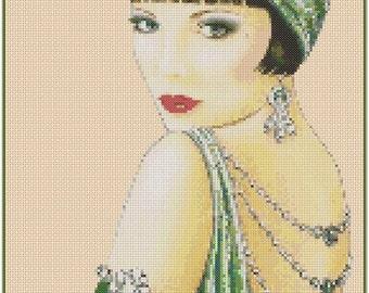 Art Deco Flapper Lady in Green #1-1