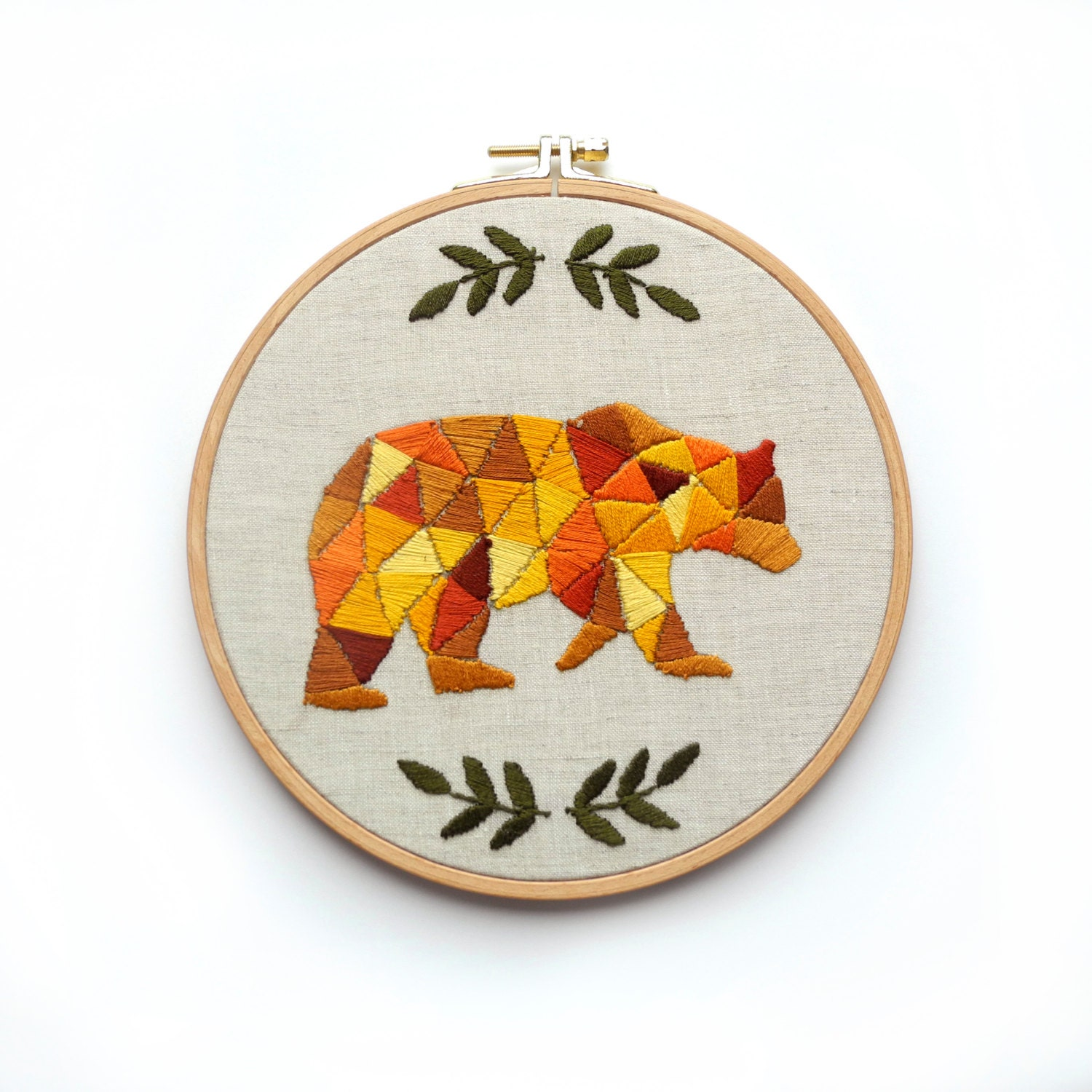 Bear embroidery hoop art hand embroidered gift autumn home