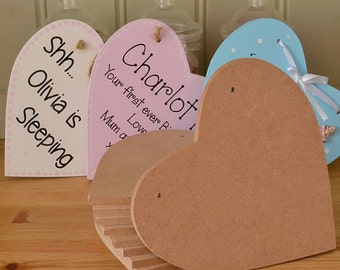 Pack of 10 x Large MDF wooden HEART shaped craft cutout blank plaque with holes 150x150mm in 6mm MDF
