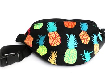 Colorful Pineapple fabric Fanny Pack - Hip Waist Bag with 2-zippered compartments