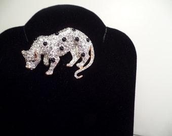 Jeweled Leopard Brooch-1980's