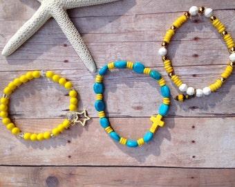 Stackable bracelets, yellow, blue, gold star, yellow cross, yellow charm, summer, autumn, gift, bracelets, beads