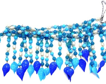 Handmade Bead Curtain BLUE Color Curtains With glass LEAVES Pendant For Home decoration