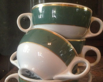 Consumme Cups Mayer Green Band White Gold Four Vintage Heavy Restaurant China 1950s Mid Century Classic