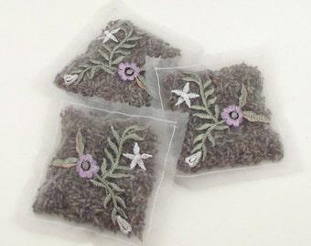 3 Dried Lavender Sachets - Embroidered Chiffon - Sheer - Set of 3 - Stocking Stuffers - sachet lot