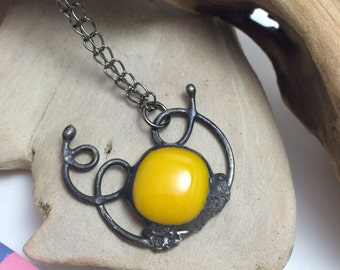 Yellow Floating Away Pendant | Fused Glass | Wirework | Stained Glass | Eclectic