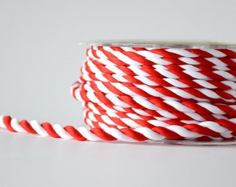Red & White Twisted Rope Ribbon 1/4 Inch 5 yards Wrapping Twine