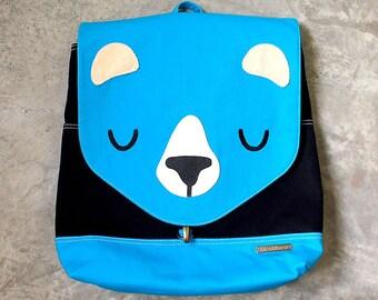 BEAR Fabric Vegan Unisex Backpack - Laptop Backpack - Diaper Bag - Fabric Backpack - Bear Bag - Turquoise Blue Black Bear - 4 WKS TURNAROUND
