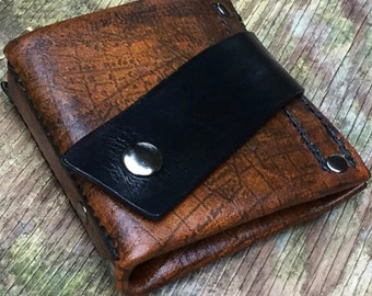 Men's Leather Money Clip Wallet - Hand Stitched - Old World - MADE to ORDER