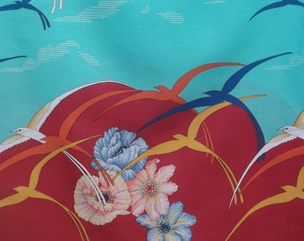 70s Bird and Floral Border Print Cranston fabric - yardage - 3 yards // Curtain and home decor