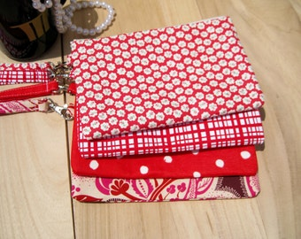 4 RED CLUTCHES, 2 pockets gift pouch wedding gift for her bulk bridesmaid clutch set gift, wallet travel