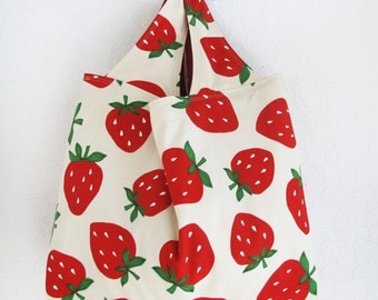 Reusable Grocery Bag | Strawberry Fabric Farmers Market Machine Washable Shopping Tote Bag