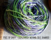 Free of Envy - Hand dyed Superwash Merino wool/silk/bamboo yarn, purples/greens/greys, 2 ply sock weight