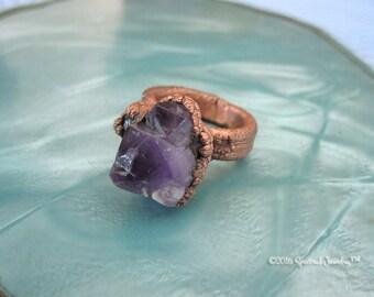 Skeletal Amethyst Electroformed Ring | Elestial Amethyst | Crystal Statement Ring | Size 5.5 Ring | Raw Amethyst | Boho | Gift for Her