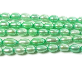 Light Green Rice Freshwater Pearl Beads