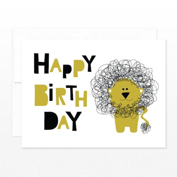 Cute Lion Happy Birthday Card Kid Birthday Greeting Card – Birthday Card for Kid
