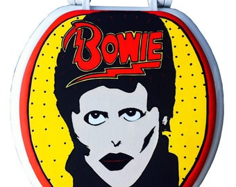 David Bowie GLAM SHOT Hand Painted Toilet Seat Rock by Debbie Is Adopted