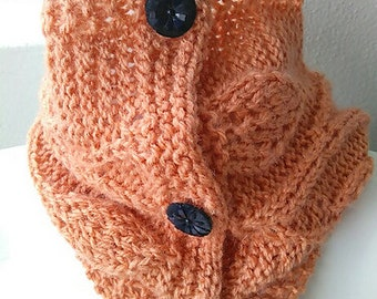 Hand-Knit Soft Cowl with Sparkly Vintage Buttons