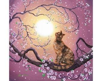 Giclee Print Tortoiseshell Tortie Cat Sakura Cherry Blossoms Mauve  Canvas or Paper