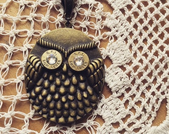 Bronze Owl with Bullet Eyes Necklace, Bullet Necklace, Owl Necklace, Bullet Jewelry, Girls with Guns, 9mm Necklace
