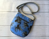 Small Rounded Adjustable Crossbody Tote Bag - Blue Sea Octopus - MADE TO ORDER