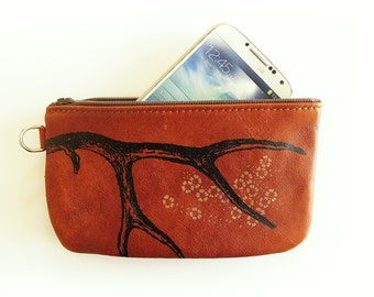 Antler Phone Case Pencil Case or Whatever in Reddy Brown Leather