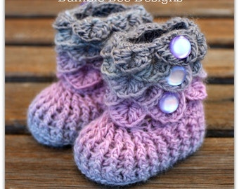 Baby Booties- Booties That Stay On - Baby Slippers - Crochet Baby Booties - New Baby Gift - Crocodile Stitch  - 0-6 months - wool - booty