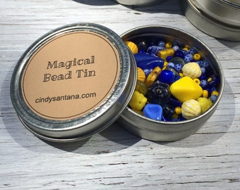 Jewlery making kit, Glass beads, glass bead lot, glass beads and more in a magical bead tin, blue and yellow, 2.5 inch aluminum tin 2 ounces