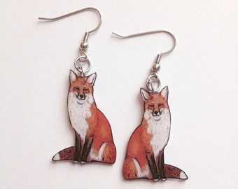 Handcrafted Plastic Red Fox Earrings Made in USA