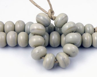 967 Gray Quartz SRA Lampwork Handmade Artisan Glass Spacer Beads Set of 10 5x9mm (Set of 10)