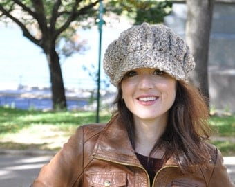 Custom Boucle Newsboy Hat - Made to Order - Women's Crochet Hat - You Choose Color