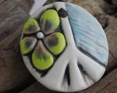 Clay Pendant, Peace Pendant, Porcelain Pendant, Clay Peace Sign, Handmade Pendant, OOAK Pendant