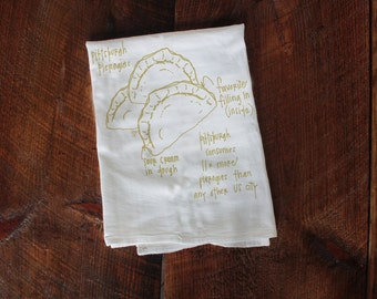 Pittsburgh Pierogies Tea Towel, Kitchen Towel, Pittsburgh Hand Towel, Wedding Gift Housewarming Gift Dish Towel, pierogie dish cloth