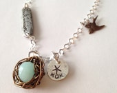 Hand Stamped Birds Nest Mothers Necklace With Amazonite Stone And Bird Charm