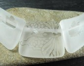 Carved and Frosted ice white butterfly beads, necklace set
